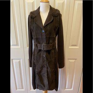 Cynthia Steffee~Wool/Suede Sweater Coat w/Fur Trim